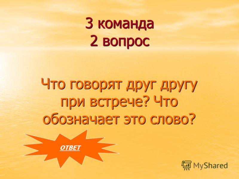 3 команда 2 вопрос Что говорят друг другу при встрече? Что обозначает это слово? ОТВЕТ