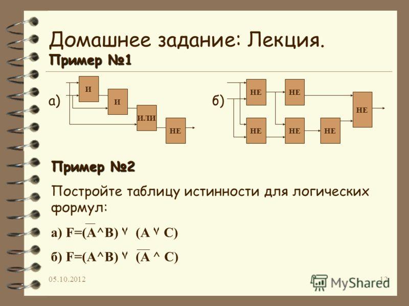 19.07.201212 Пример 1 Домашнее задание: Лекция. Пример 1 а)б) И И ИЛИ НЕ Пример 2 Постройте таблицу истинности для логических формул: а) F=(A^B) ۷ (A ۷ C) б) F=(A^B) ۷ (A ^ C)