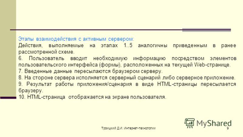 Троицкий Д.И. Интернет-технологии9 Этапы взаимодействия с активным сервером: Действия, выполняемые на этапах 1..5 аналогичны приведенным в ранее рассмотренной схеме. 6. Пользователь вводит необходимую информацию посредством элементов пользовательског