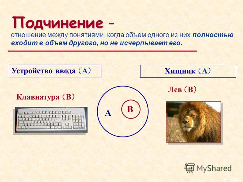 24 из 10 Подчинение - отношение между понятиями, когда объем одного из них полностью входит в объем другого, но не исчерпывает его. Устройство ввода (А) Клавиатура (В) Хищник (А) Лев (В) А В