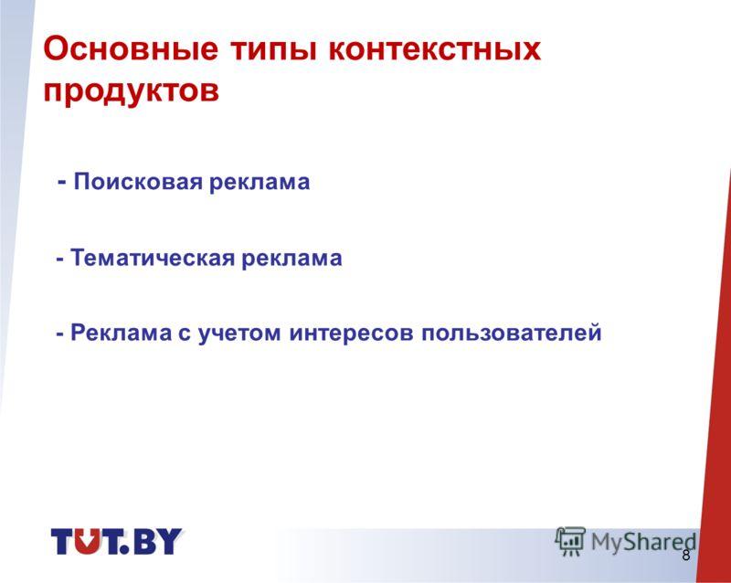 8 - Поисковая реклама - Тематическая реклама - Реклама с учетом интересов пользователей Основные типы контекстных продуктов