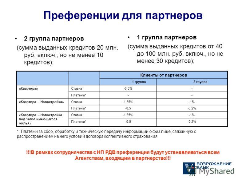 Преференции для партнеров 2 группа партнеров (сумма выданных кредитов 20 млн. руб. включ., но не менее 10 кредитов); 1 группа партнеров (сумма выданных кредитов от 40 до 100 млн. руб. включ., но не менее 30 кредитов); * Платежи за сбор, обработку и т