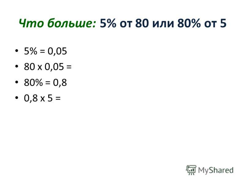 Что больше: 5% от 80 или 80% от 5 5% = 0,05 80 х 0,05 = 80% = 0,8 0,8 х 5 =