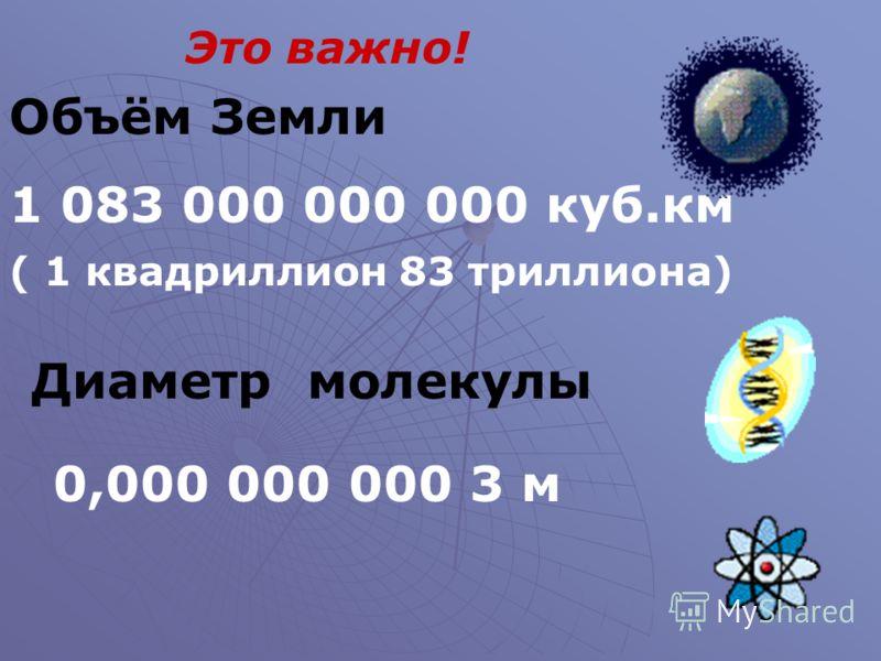 Это важно! Объём Земли 1 083 000 000 000 куб.км ( 1 квадриллион 83 триллиона) Диаметр молекулы 0,000 000 000 3 м