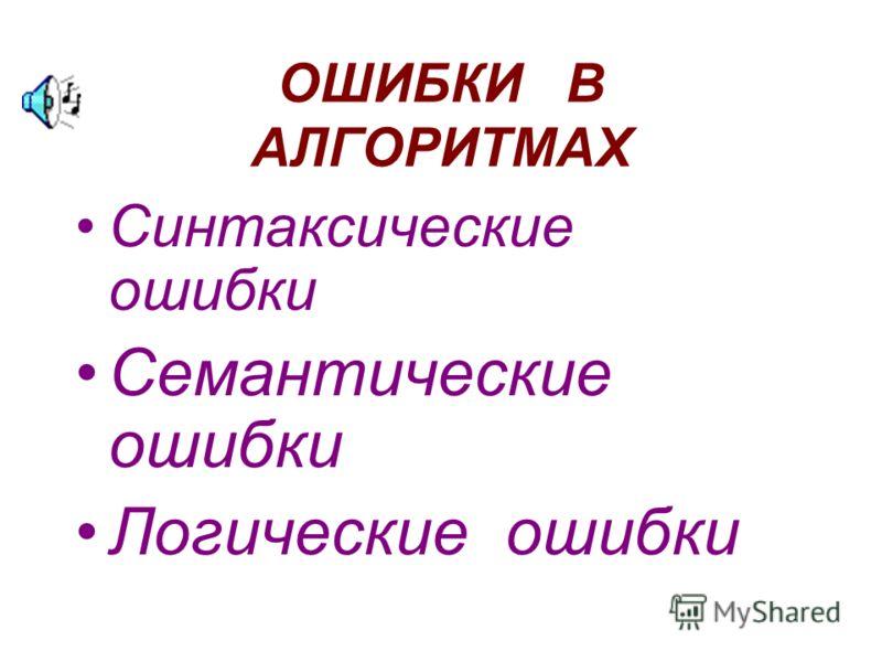 ОШИБКИ В АЛГОРИТМАХ Синтаксические ошибки Семантические ошибки Логические ошибки