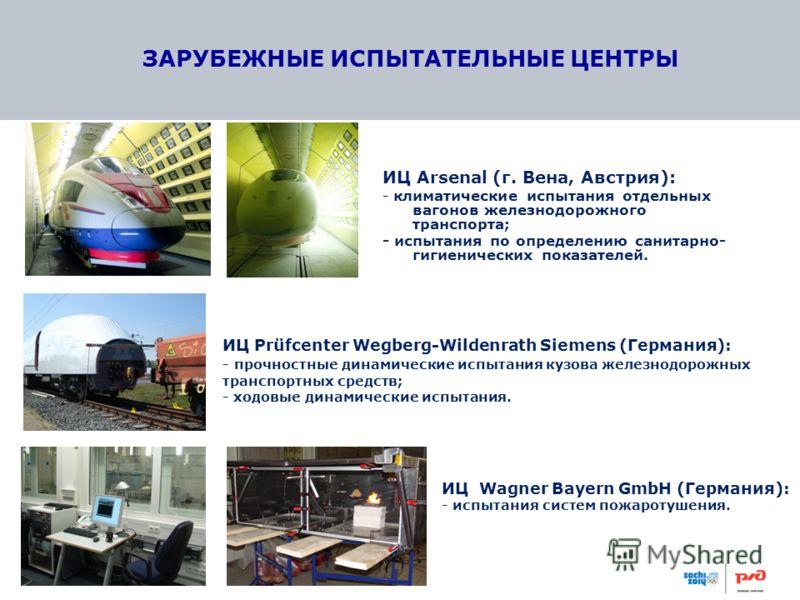 ЗАРУБЕЖНЫЕ ИСПЫТАТЕЛЬНЫЕ ЦЕНТРЫ ИЦ Arsenal (г. Вена, Австрия): - климатические испытания отдельных вагонов железнодорожного транспорта; - испытания по определению санитарно- гигиенических показателей. ИЦ Prüfcenter Wegberg-Wildenrath Siemens (Германи