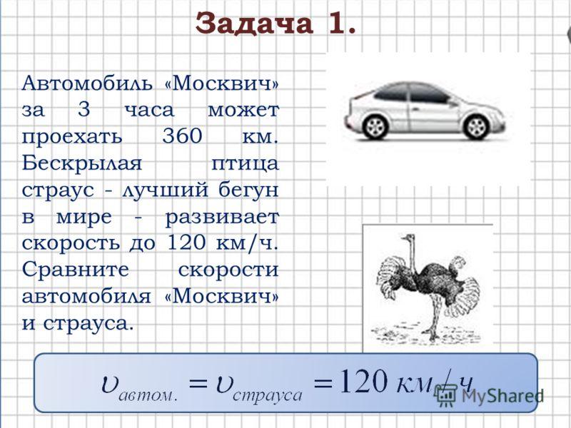 Автомобиль «Москвич» за 3 часа может проехать 360 км. Бескрылая птица страус - лучший бегун в мире - развивает скорость до 120 км/ч. Сравните скорости автомобиля «Москвич» и страуса. Задача 1.