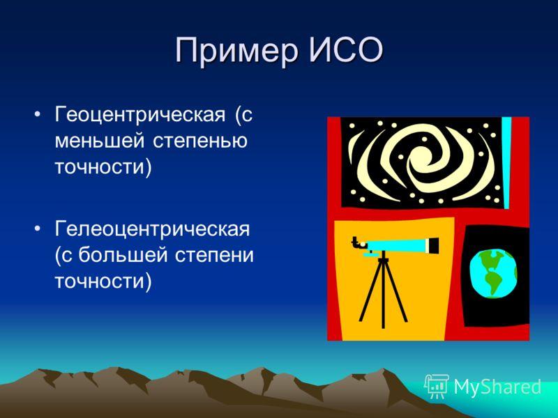 Пример ИСО Геоцентрическая (с меньшей степенью точности) Гелеоцентрическая (с большей степени точности)