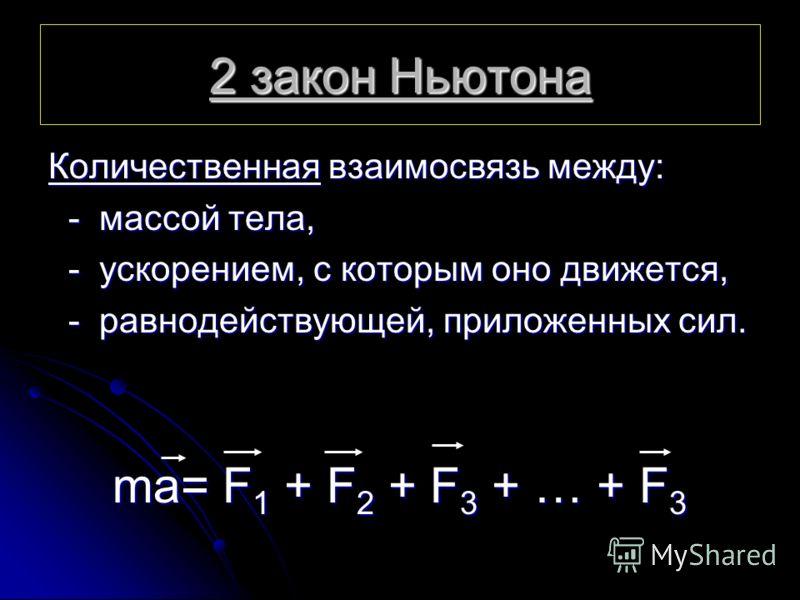 2 закон Ньютона Количественная взаимосвязь между: - массой тела, - ускорением, с которым оно движется, - равнодействующей, приложенных сил. ma= F 1 + F 2 + F 3 + … + F 3