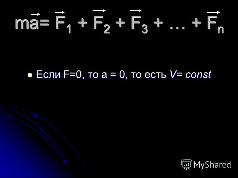 ma= F 1 + F 2 + F 3 + … + F n Если F=0, то а = 0, то есть V= const
