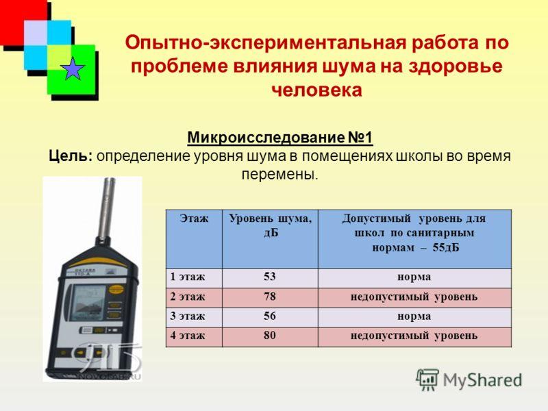 Опытно-экспериментальная работа по проблеме влияния шума на здоровье человека Микроисследование 1 Цель: определение уровня шума в помещениях школы во время перемены. ЭтажУровень шума, дБ Допустимый уровень для школ по санитарным нормам – 55дБ 1 этаж5