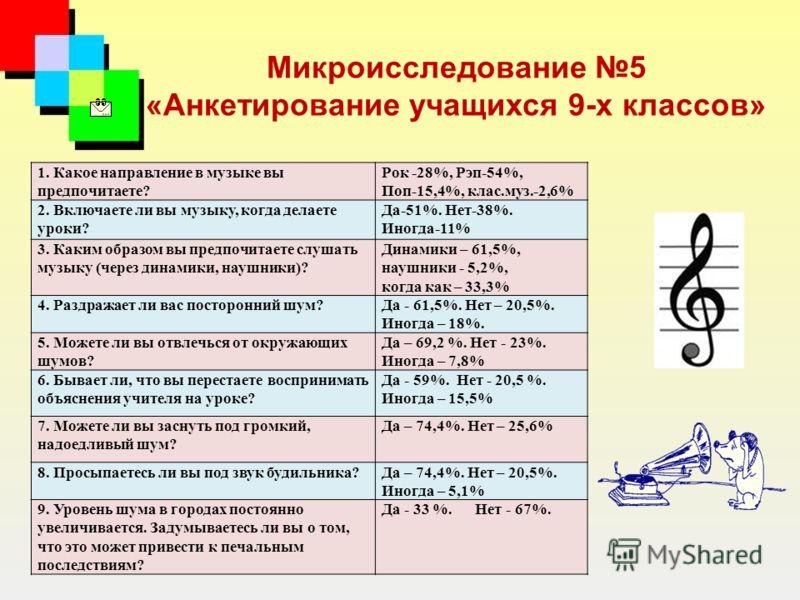 Микроисследование 5 «Анкетирование учащихся 9-х классов» 1. Какое направление в музыке вы предпочитаете? Рок -28%, Рэп-54%, Поп-15,4%, клас.муз.-2,6% 2. Включаете ли вы музыку, когда делаете уроки? Да-51%. Нет-38%. Иногда-11% 3. Каким образом вы пред