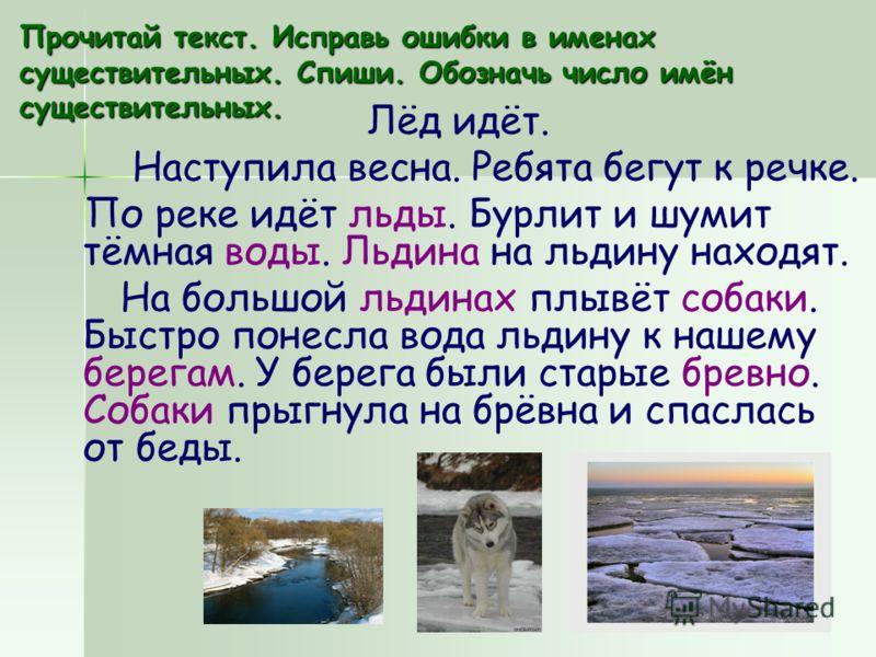 Прочитай текст. Исправь ошибки в именах существительных. Спиши. Обозначь число имён существительных. Лёд идёт. Наступила весна. Ребята бегут к речке. По реке идёт льды. Бурлит и шумит тёмная воды. Льдина на льдину находят. На большой льдинах плывёт с