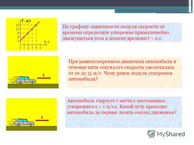 По графику зависимости модуля скорости от времени определите ускорение прямолинейно движущегося тела в момент времени t = 2 с. При равноускоренном движении автомобиля в течение пяти секунд его скорость увеличилась от 10 до 15 м/с. Чему равен модуль у