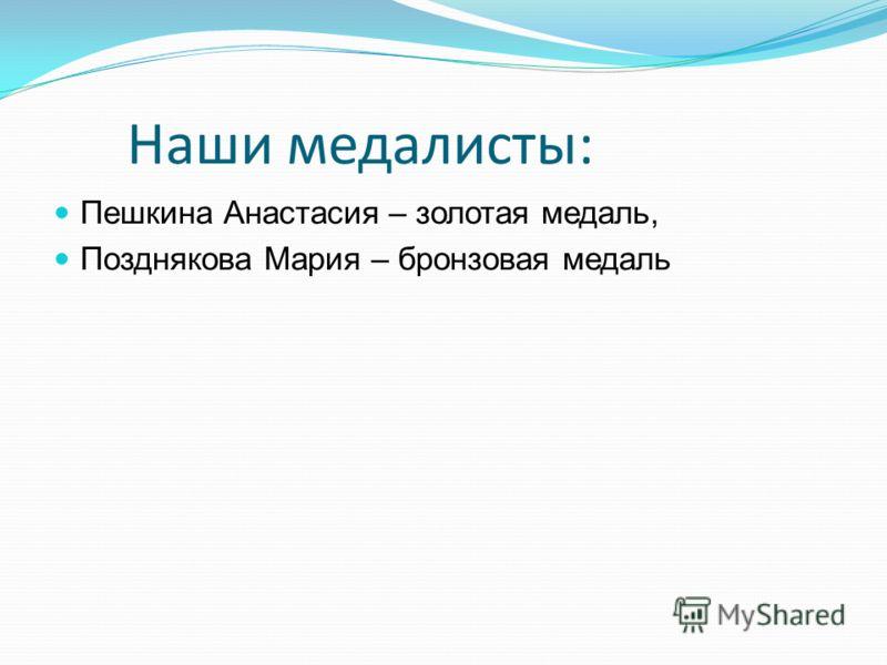 Наши медалисты: Пешкина Анастасия – золотая медаль, Позднякова Мария – бронзовая медаль