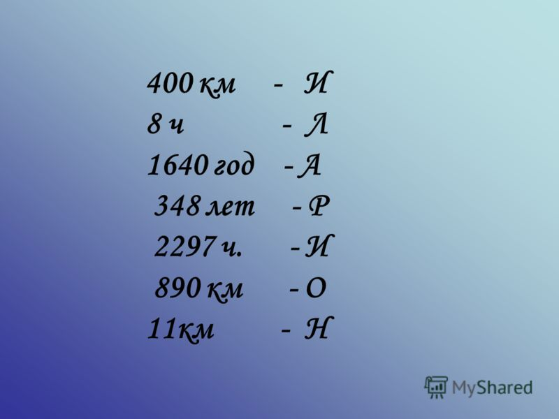 400 км - И 8 ч - Л 1640 год - А 348 лет - Р 2297 ч. - И 890 км - О 11км - Н