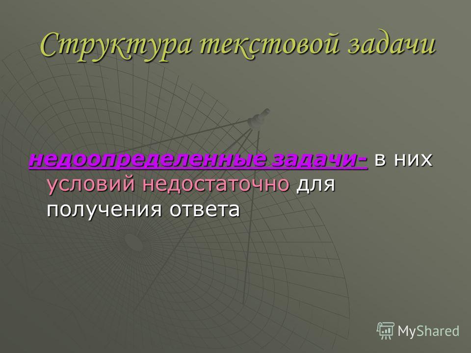 Структура текстовой задачи недоопределенные задачи- в них условий недостаточно для получения ответа
