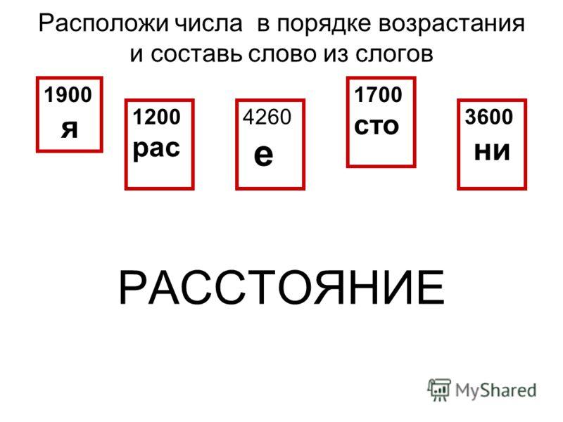 Расположи числа в порядке возрастания и составь слово из слогов РАССТОЯНИЕ 1900 я 1200 рас 4260 е 1700 сто 3600 ни