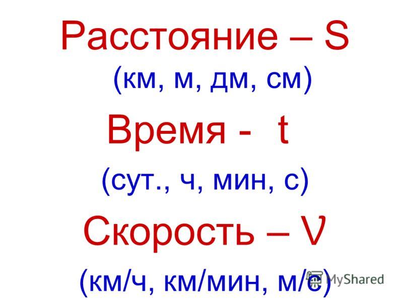 Расстояние – S (км, м, дм, см) Время - (сут., ч, мин, с) Скорость – Ʋ (км/ч, км/мин, м/с)