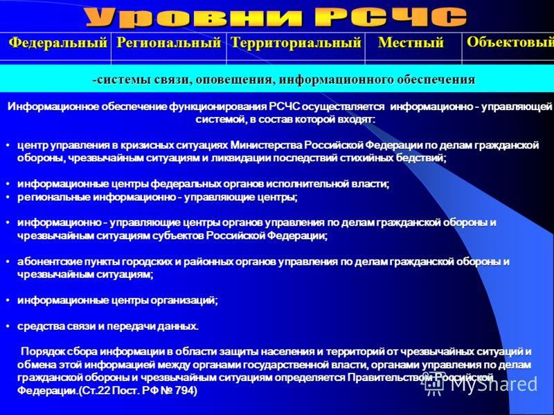 Региональный Территориальный Местный -системы связи, оповещения, информационного обеспечения Информационное обеспечение функционирования РСЧС осуществляется информационно - управляющей системой, в состав которой входят: центр управления в кризисных с