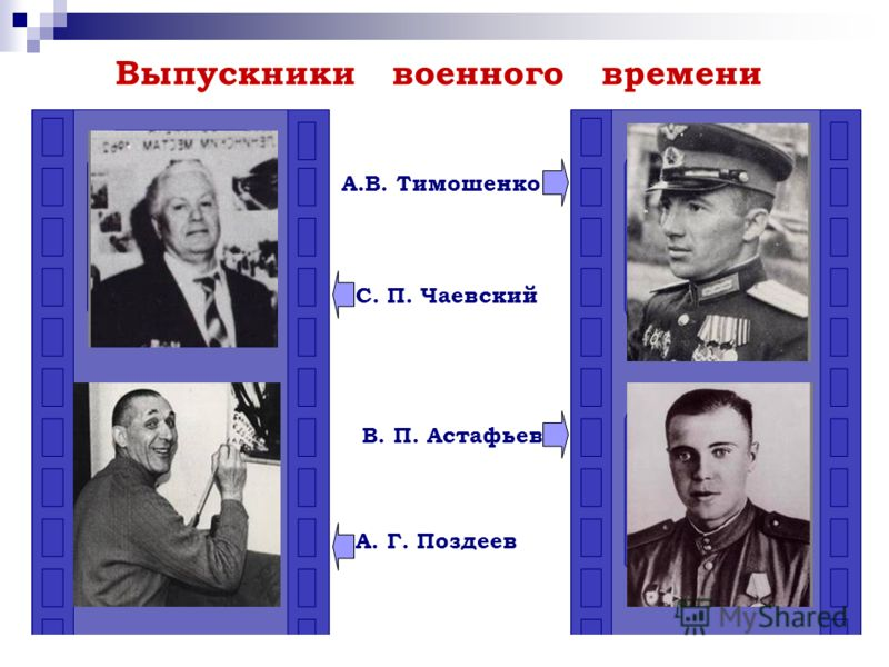 Выпускники военного времени В. П. Астафьев А. Г. Поздеев С. П. Чаевский А.В. Тимошенко