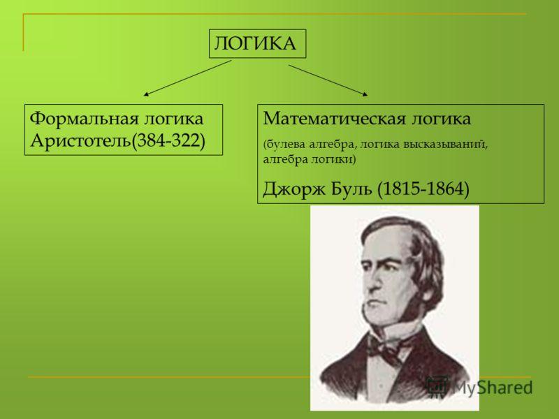 ЛОГИКА Формальная логика Аристотель(384-322) Математическая логика ( булева алгебра, логика высказываний, алгебра логики) Джорж Буль (1815-1864)