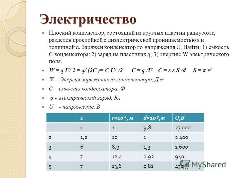 Электричество Плоский конденсатор, состоящий из круглых пластин радиусом r, разделен прослойкой с диэлектрической проницаемостью ε и толщиной d. Заряжен конденсатор до напряжения U. Найти: 1) емкость С конденсатора; 2) заряд на пластинах q; 3) энерги