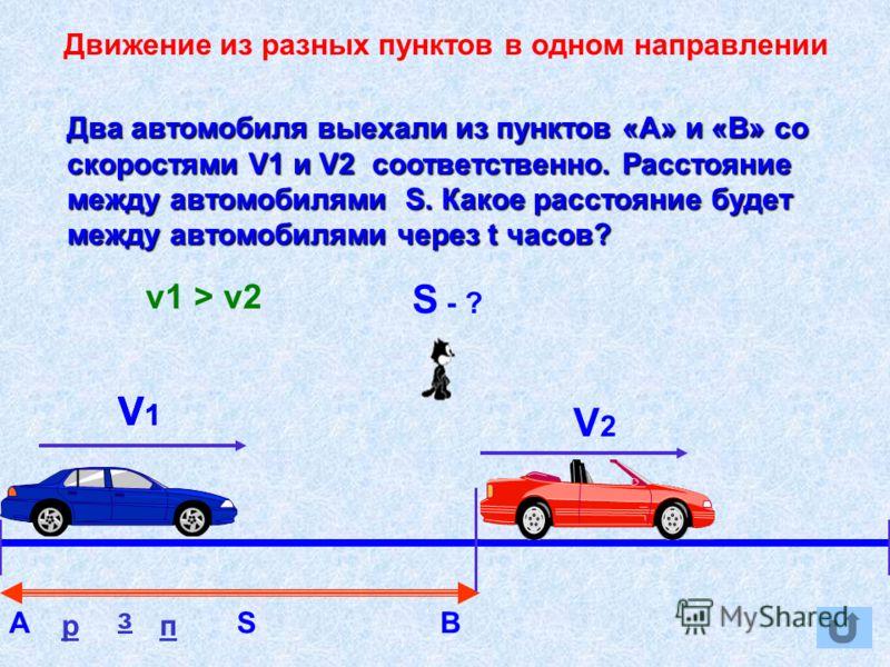 Движение из разных пунктов в одном направлении АВS V1 V2 Два автомобиля выехали из пунктов «А» и «В» со скоростями V1 и V2 соответственно. Расстояние между автомобилями S. Какое расстояние будет между автомобилями через t часов? S - ? р з п V1 V1 v1