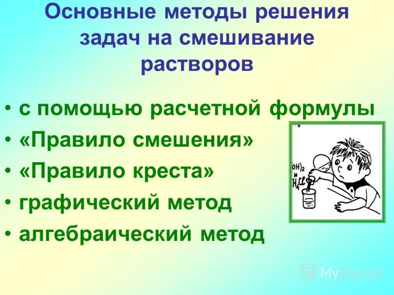 Основные методы решения задач на смешивание растворов с помощью расчетной формулы «Правило смешения» «Правило креста» графический метод алгебраический метод