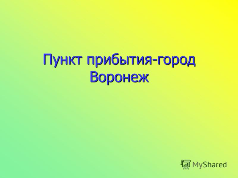Пункт прибытия-город Воронеж