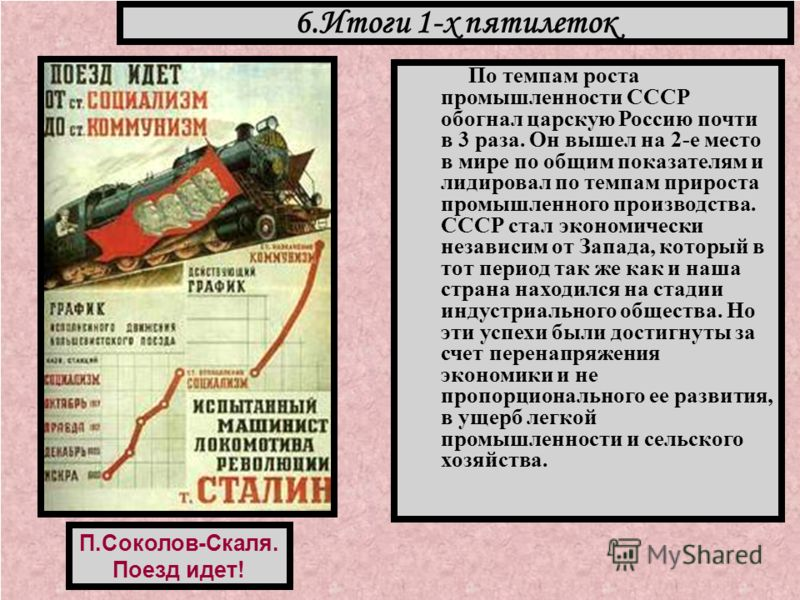 По темпам роста промышленности СССР обогнал царскую Россию почти в 3 раза. Он вышел на 2-е место в мире по общим показателям и лидировал по темпам прироста промышленного производства. СССР стал экономически независим от Запада, который в тот период т