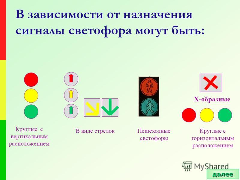 В зависимости от назначения сигналы светофора могут быть: Х-образные Круглые с вертикальным расположением В виде стрелокПешеходные светофоры Круглые с горизонтальным расположением далее