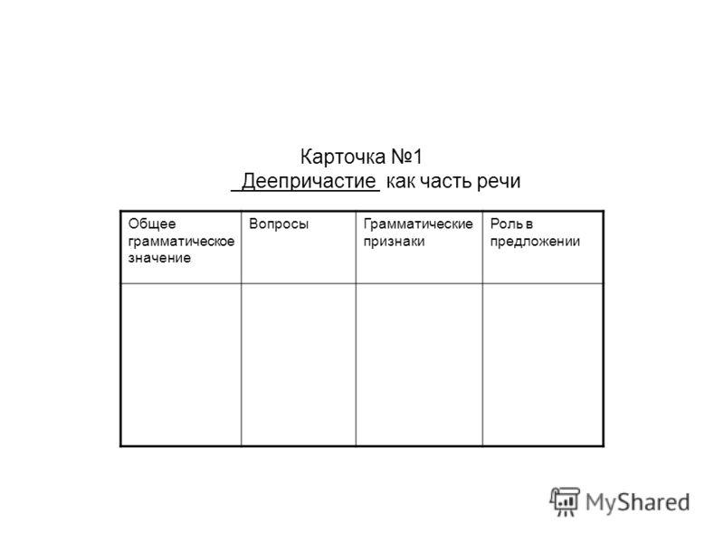 Карточка 1 _Деепричастие как часть речи Общее грамматическое значение ВопросыГрамматические признаки Роль в предложении