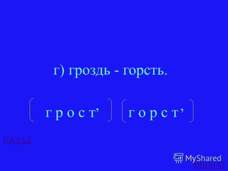 ОТВЕТ В какой из пар слова состоят из одинаковых звуков? а) друг - гурт, б) сруб - брус, в) стиль - лист, г) гроздь - горсть.