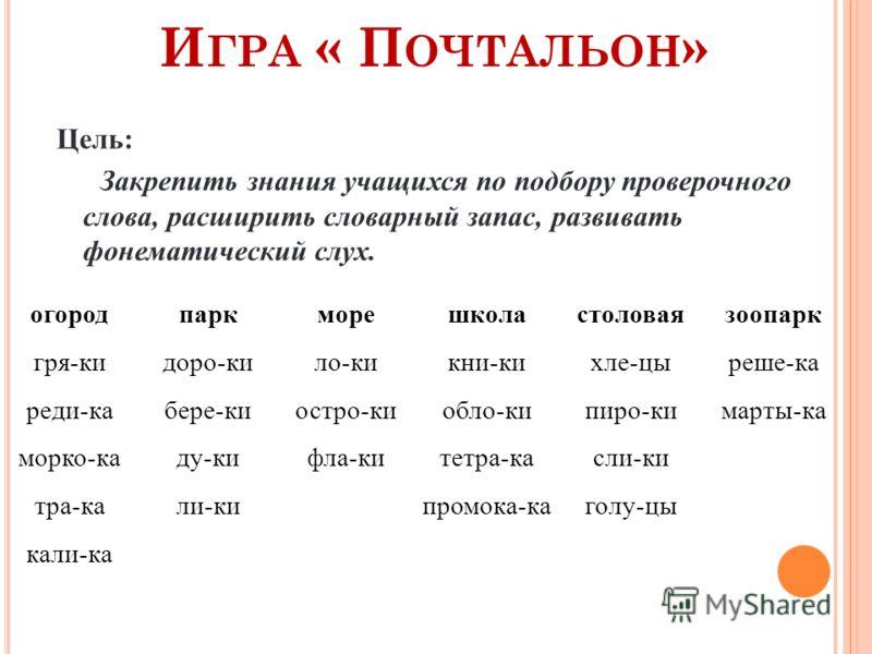 И ГРА « П ОЧТАЛЬОН » Цель: Закрепить знания учащихся по подбору проверочного слова, расширить словарный запас, развивать фонематический слух. огородпаркморешколастоловаязоопарк гря-кидоро-кило-кикни-кихле-цыреше-ка реди-кабере-киостро-киобло-кипиро-к