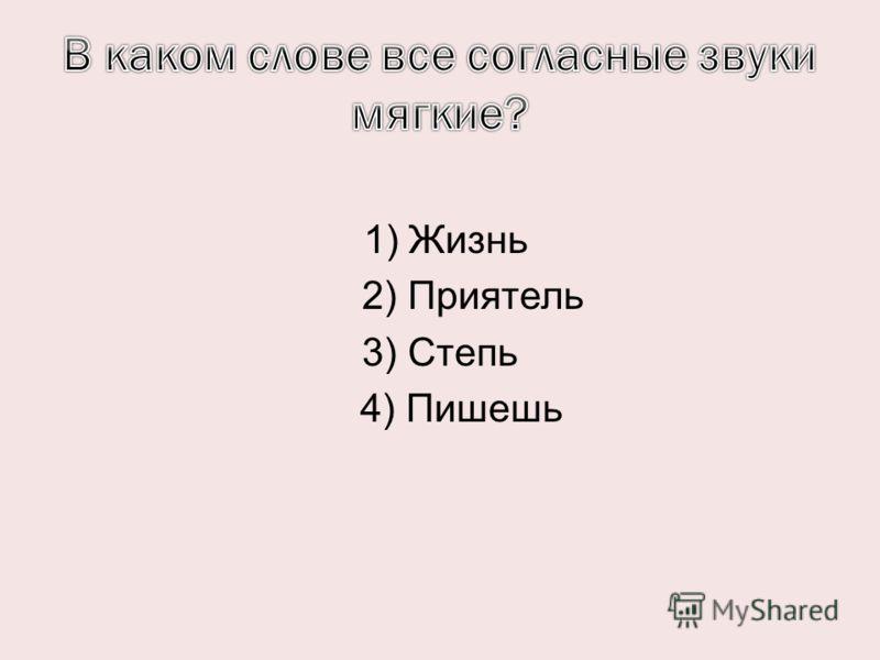 1) Жизнь 2) Приятель 3) Степь 4) Пишешь