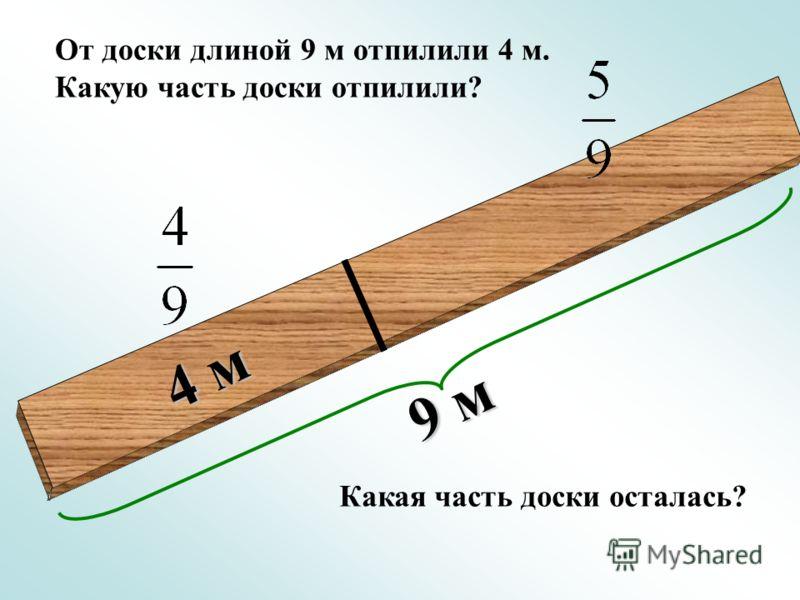 9 м 4 м От доски длиной 9 м отпилили 4 м. Какую часть доски отпилили? Какая часть доски осталась?