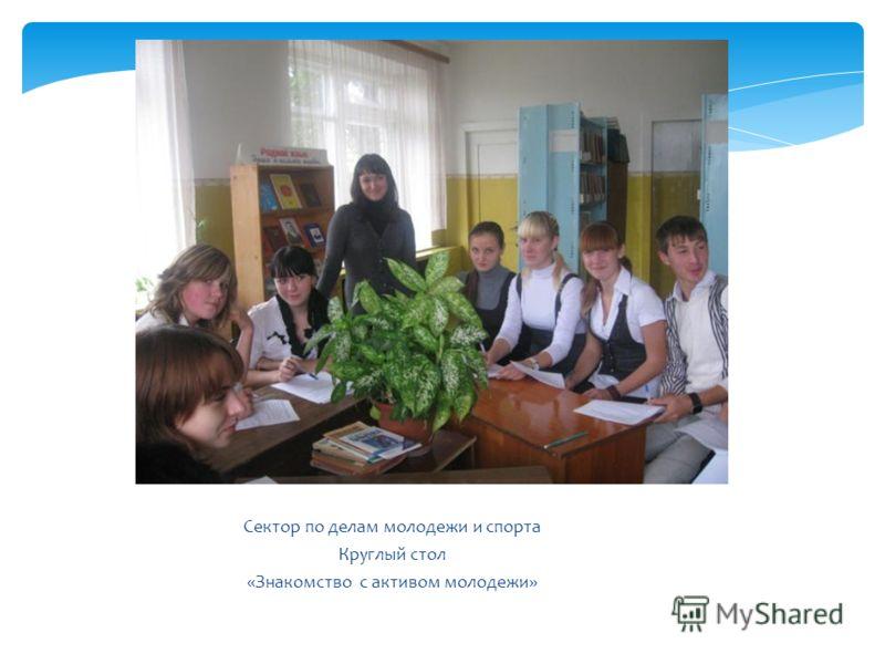 Сектор по делам молодежи и спорта Круглый стол «Знакомство с активом молодежи»