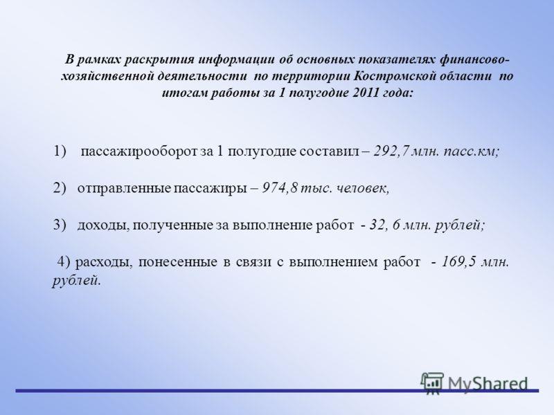 В рамках раскрытия информации об основных показателях финансово- хозяйственной деятельности по территории Костромской области по итогам работы за 1 полугодие 2011 года: 1)пассажирооборот за 1 полугодие составил – 292,7 млн. пасс.км; 2) отправленные п