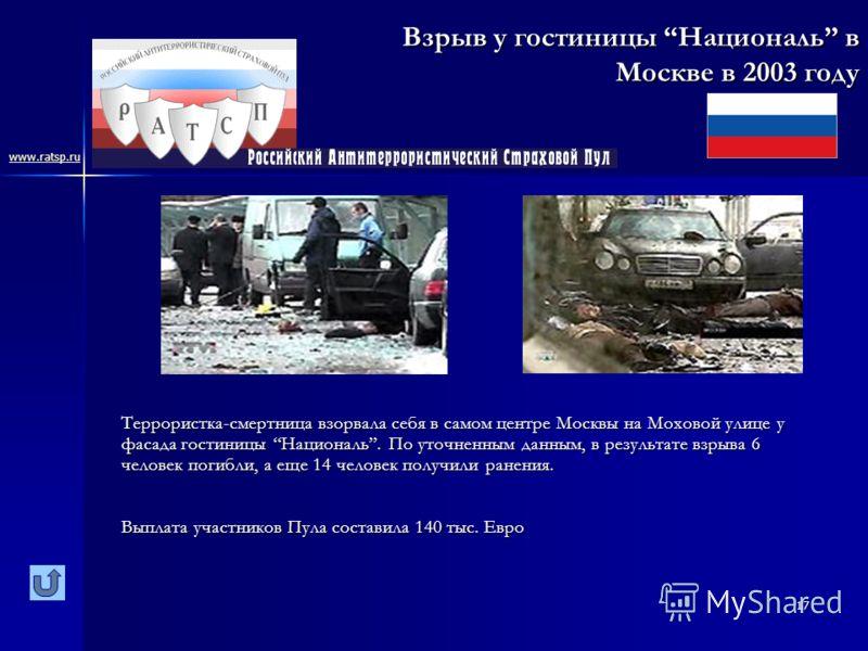 17 Взрыв у гостиницы Националь в Москве в 2003 году Террористка-смертница взорвала себя в самом центре Москвы на Моховой улице у фасада гостиницы Националь. По уточненным данным, в результате взрыва 6 человек погибли, а еще 14 человек получили ранени