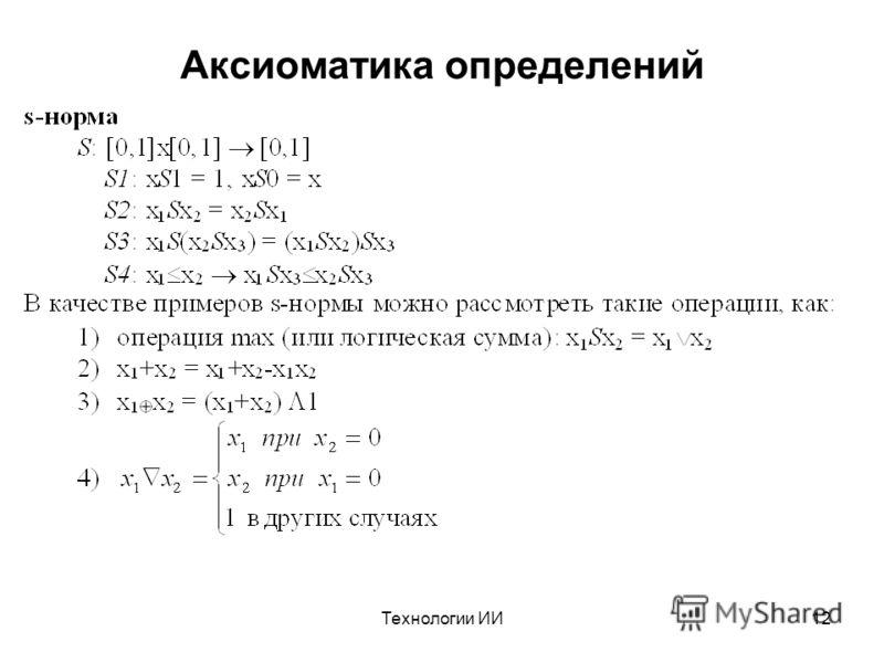 Технологии ИИ12 Аксиоматика определений