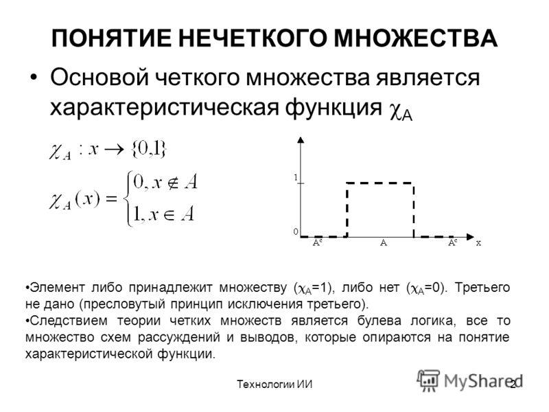 Технологии ИИ2 ПОНЯТИЕ НЕЧЕТКОГО МНОЖЕСТВА Основой четкого множества является характеристическая функция A Элемент либо принадлежит множеству ( A =1), либо нет ( A =0). Третьего не дано (пресловутый принцип исключения третьего). Следствием теории чет