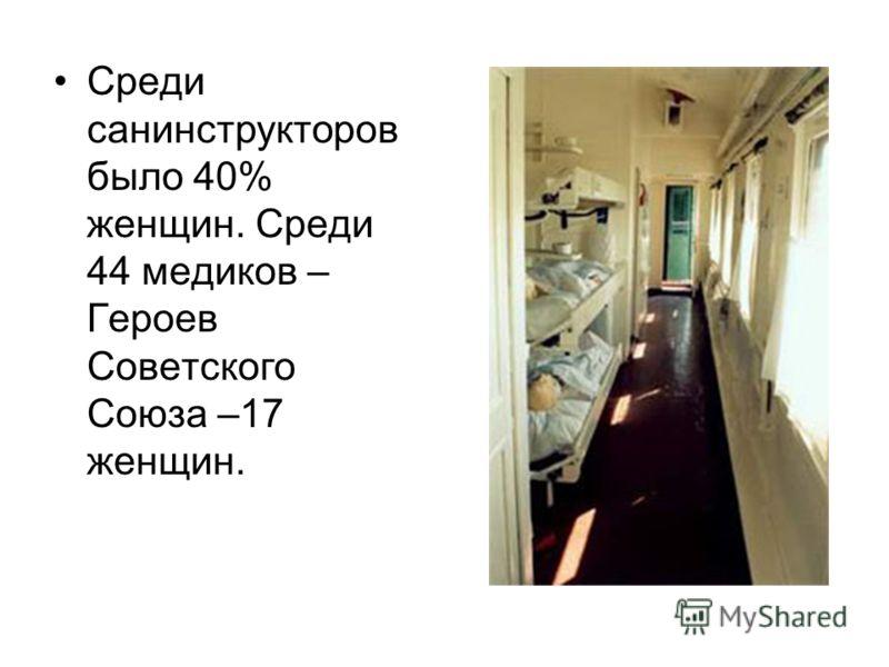 Среди санинструкторов было 40% женщин. Среди 44 медиков – Героев Советского Союза –17 женщин.