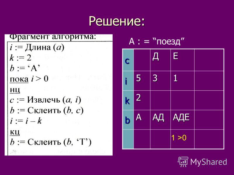 Решение: А : = поездcДЕi531 k2 bAАДАДЕ 1 >0