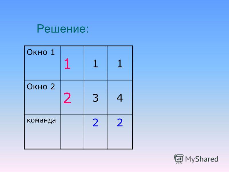 Решение: Окно 1 1 11 Окно 2 2 34 команда 22