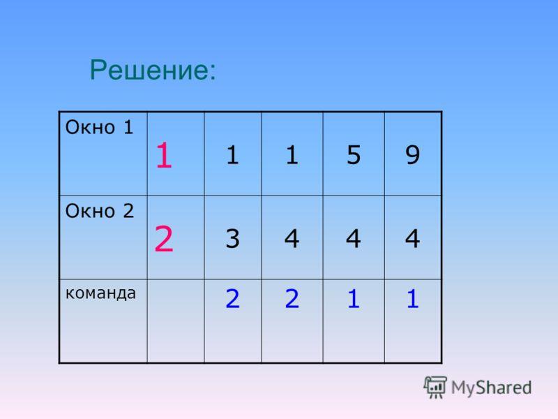 Решение: Окно 1 1 1159 Окно 2 2 3444 команда 2211