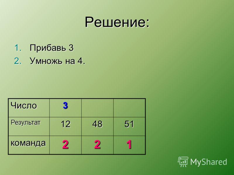 Решение: 1.Прибавь 3 2.Умножь на 4. Число3 Результат124851 команда221