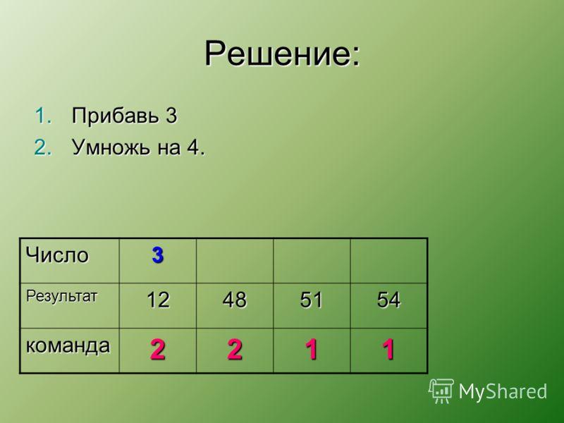 Решение: 1.Прибавь 3 2.Умножь на 4. Число3 Результат12485154 команда2211