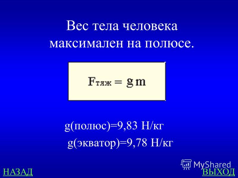 Невесомость 500 В какой точке Земли вес человека максимален?