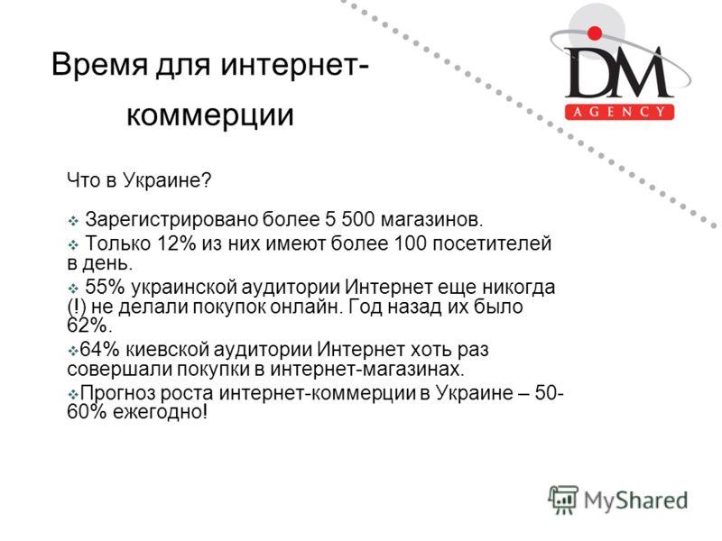 Время для интернет- коммерции Что в Украине? Зарегистрировано более 5 500 магазинов. Только 12% из них имеют более 100 посетителей в день. 55% украинской аудитории Интернет еще никогда (!) не делали покупок онлайн. Год назад их было 62%. 64% киевской